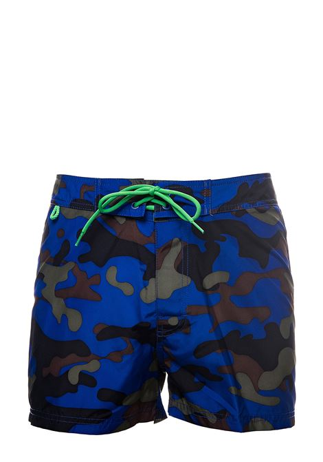 MILITARY BLUE COSTUME WITH LOGO APPLICATION ON THE BACK SUNDEK | Swimsuits | M502BDP0253001