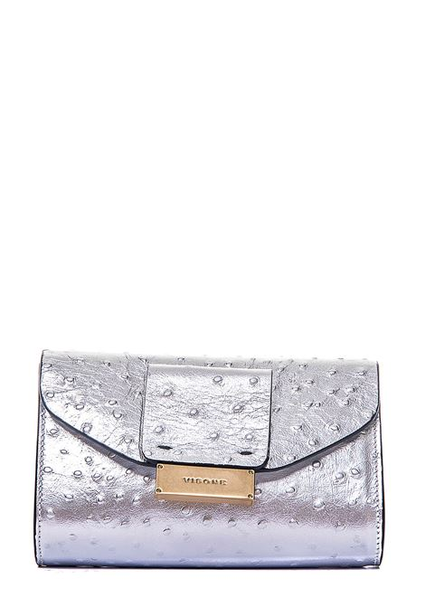 SILVER OSTRICH PRINT LEATHER CROSSBODY BAG VISONE | Bags | MILALEATHEROSTRICHSMALLARGENTO