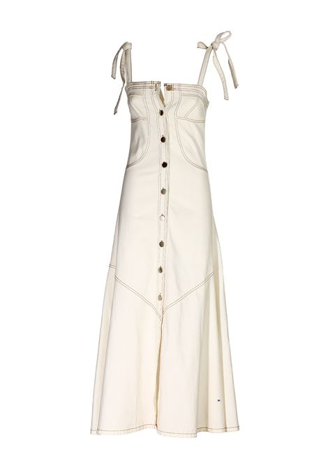 LONG WHITE COTTON DENIM DRESS weili zheng | Dress | SJWZDL05W01