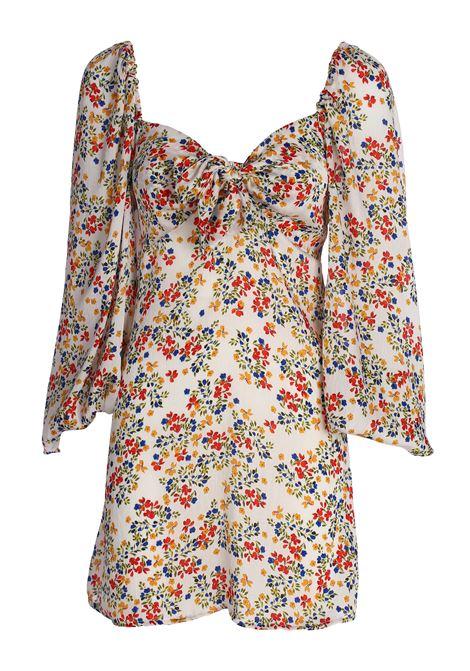 MINI DRESS FLORAL FANTASY WITH BOW weili zheng | Dress | SWZDC67F50