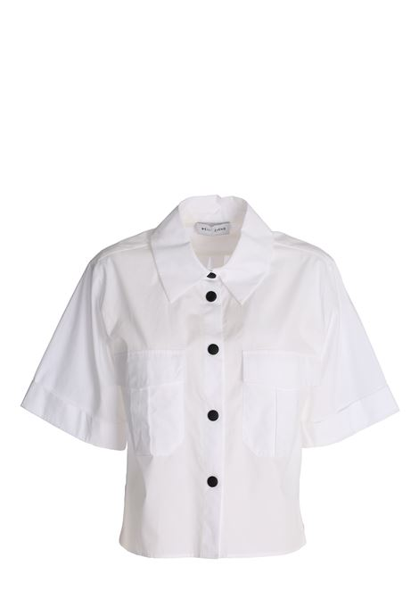 WHITE CROP SHIRT IN COTTON POPLIN weili zheng   Shirts   SWZSM24W01