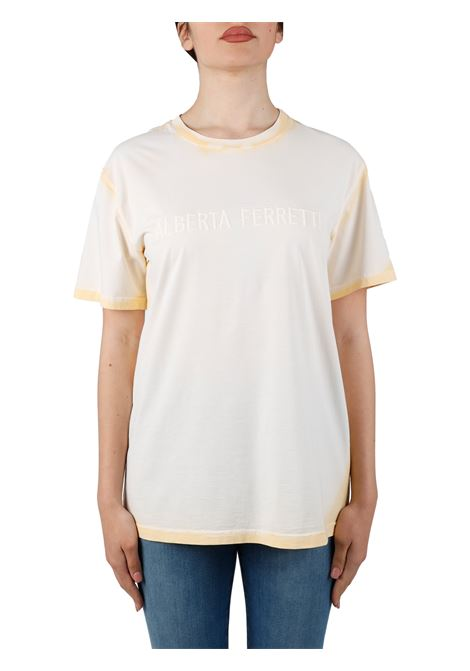 T-SHIRT GIALLA CON RICAMO FRONTALE ALBERTA FERRETTI | T-shirt | 070101601021