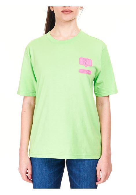 T-SHIRT VERDE CON LOGO FRONTALE CHIARA FERRAGNI | T-shirt | CFT117GREEN FLASH