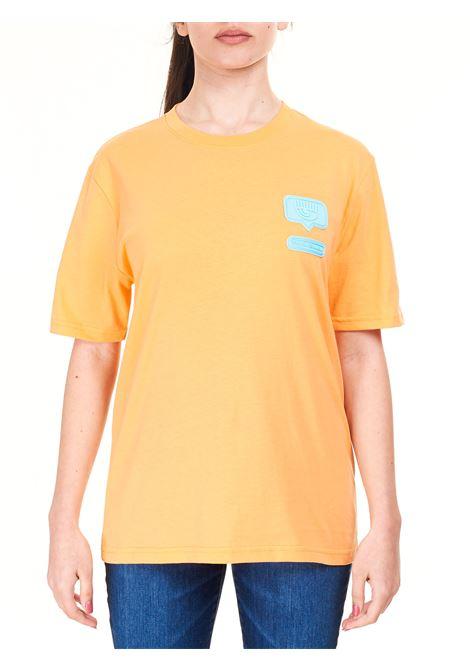 T-SHIRT ARANCIO CON LOGO FRONTALE CHIARA FERRAGNI | T-shirt | CFT117SCARLET IBIS
