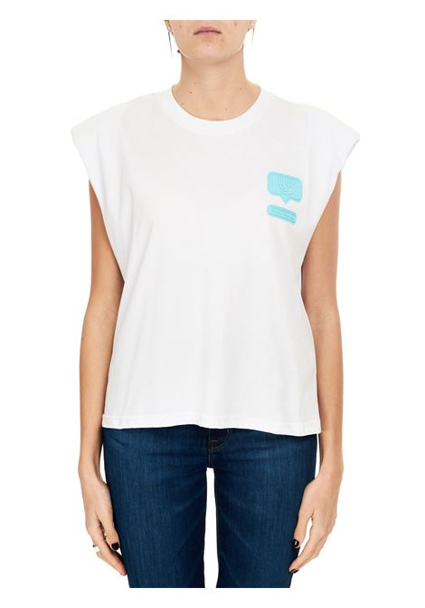 WHITE COTTON T-SHIRT WITH SILICONE EYELIKE PATCH CHIARA FERRAGNI | T-shirt | CFT118BIANCO