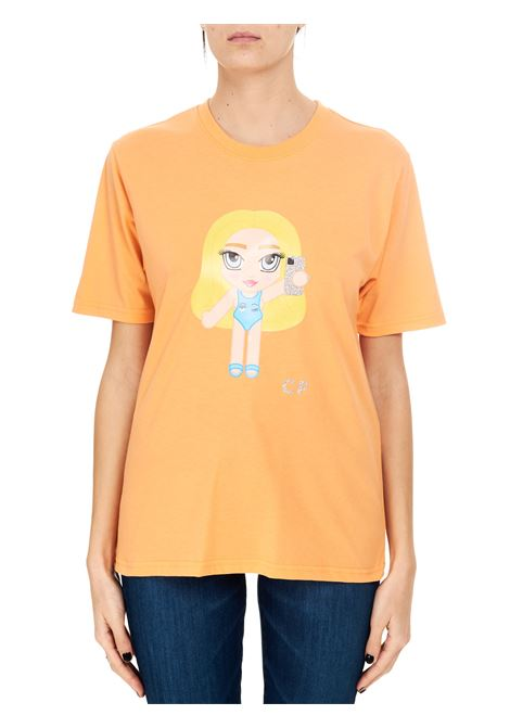 EYELIKE ORANGE CF MASCOT T-SHIRT IN COTTON CHIARA FERRAGNI | T-shirt | CFT121SCARLET IBIS