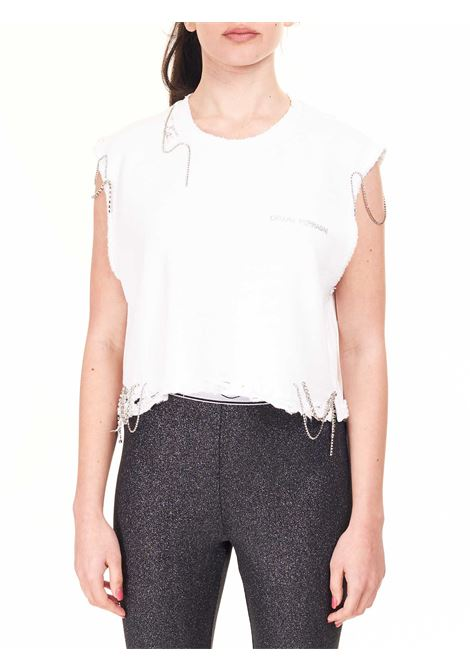 CROPPED DESTRYED TOP WITH CRYSTALS APPLICATION CHIARA FERRAGNI |  | CFT125BIANCO
