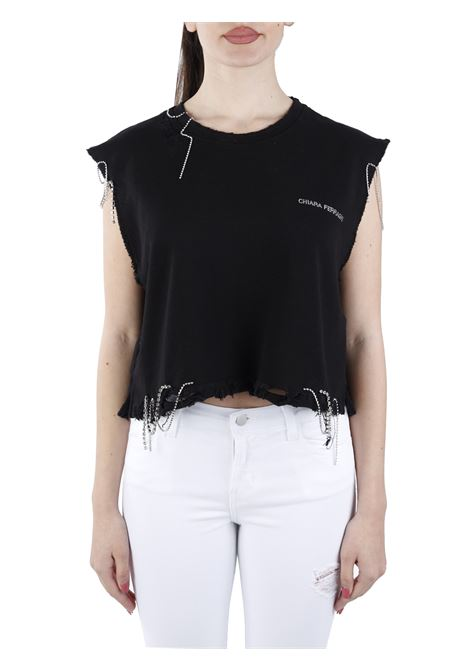 CROPPED DESTRYED TOP WITH CRYSTALS APPLICATION CHIARA FERRAGNI |  | CFT125BLACK