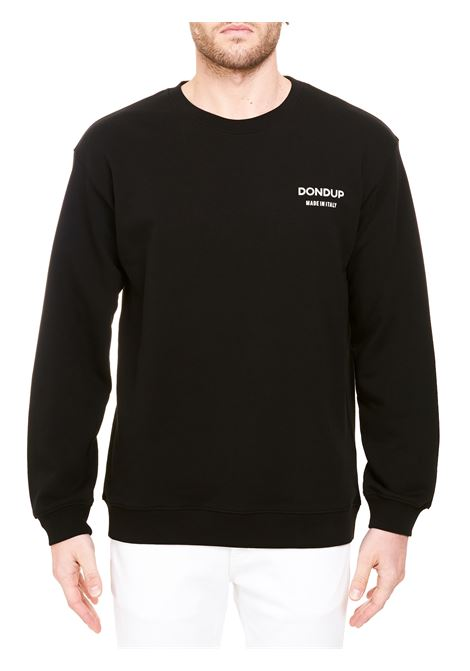 BLACK COTTON SWEATSHIRT WITH FRONT LOGO PRINT DONDUP | Sweatshirts | UF641KF0196BM2DUS21999