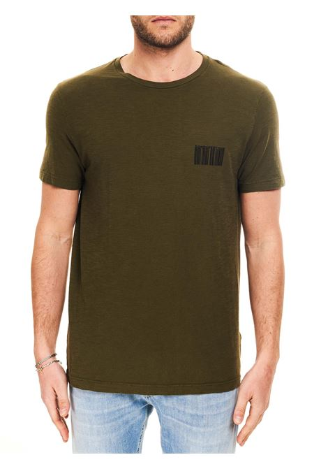 T-SHIRT VERDE CON STAMPA LOGO FRONTALE IN COTONE DONDUP | T-shirt | US198JF0195UBG8DUS21635