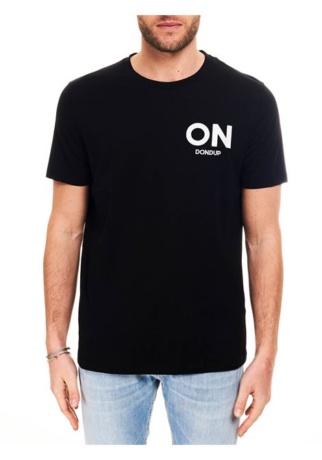 BLACK COTTON T-SHIRT WITH LOGO EMBROIDERY DONDUP |  | US198JF0271UBF3DUS21999