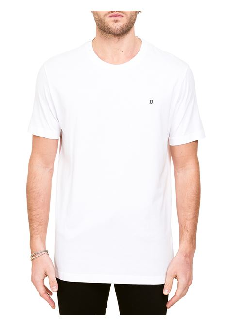 WHITE COTTON T-SHIRT WITH METAL LOGO APPLICATION DONDUP |  | US198JF0283UZL4DUS21000