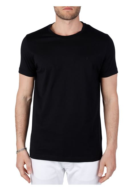 T-SHIRT NERA IN COTONE CON APPLICAZIONE LOGO IN METALLO DONDUP | T-shirt | US198JF0283UZL4DUS21999