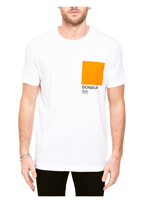 WHITE COTTON T-SHIRT WITH LOGO PRINT DONDUP |  | US198JF0284UBH4DUS21000