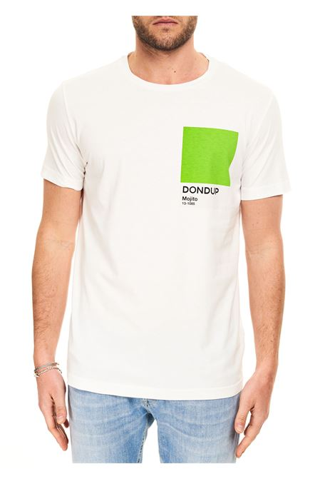 T-SHIRT BIANCA IN COTONE CON STAMPA LOGO DONDUP | T-shirt | US198JF0284UBH6DUS21000