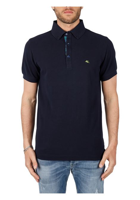COTTON POLO WITH FRONT LOGO EMBROIDERY SLIM FIT ETRO | Polo shirt | POLO1BLU