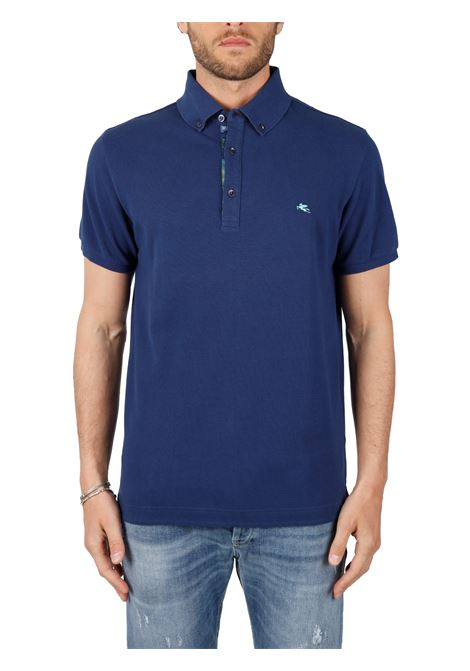 COTTON POLO WITH FRONT LOGO EMBROIDERY SLIM FIT ETRO | Polo shirt | POLO8BLU