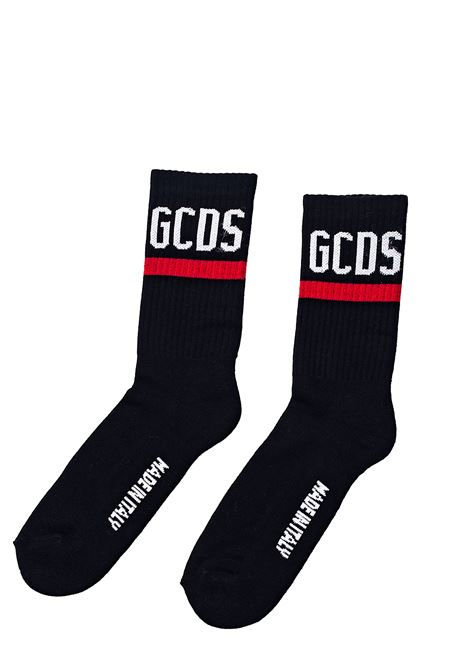BLACK SOCKS WITH LETTERING LOGO GCDS | Socks | CC94M01002402