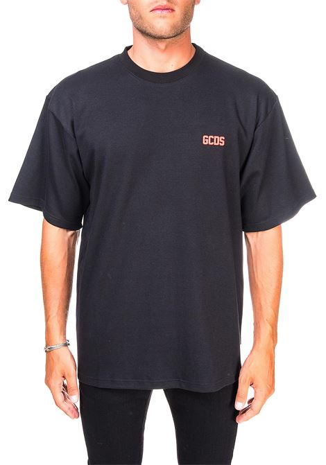 BLACK COTTON T-SHIRT WITH LOGO GCDS | T-shirt | CC94M02100102
