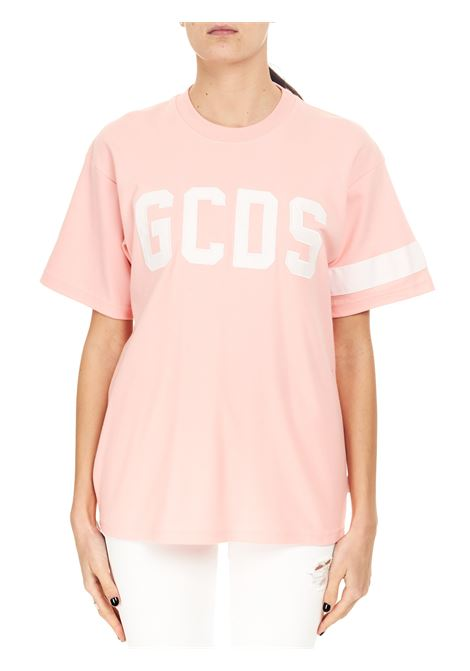 PINK COTTON T-SHIRT WITH FRONT LOGO EMBROIDERY GCDS |  | CC94M02100406
