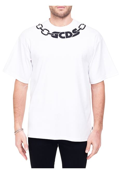 WHITE COTTON T-SHIRT WITH PRINTED LOGO GCDS | T-shirt | CC94M02105001