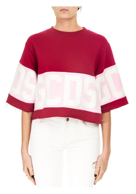CROPPED FUCHSIA T-SHIRT IN COTTON GCDS | T-shirt | CC94W02060356