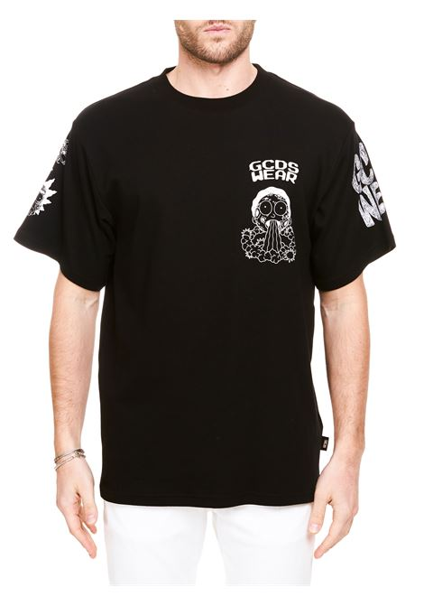 BLACK COTTON T-SHIRT WITH LOGO EMBROIDERY GCDS | T-shirt | RM21M02005402