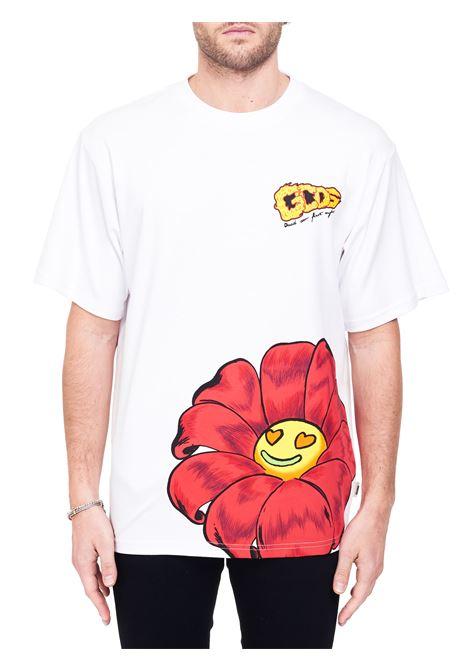 WHITE COTTON T-SHIRT WITH LOGO GCDS | T-shirt | SS21M02006901