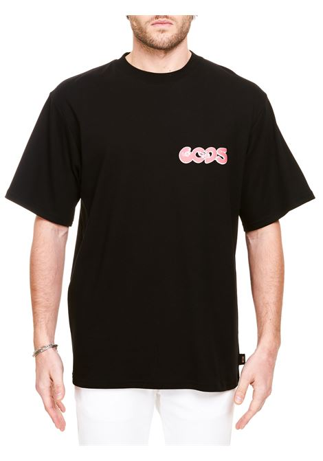 BLACK COTTON T-SHIRT SPREADING LOVE MODEL GCDS | T-shirt | SS21M02007102