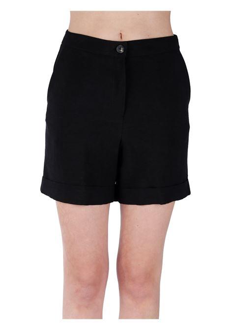 BLACK SHORTS IN LINEN BLEND KAOS | Shorts | NPJMR0240001