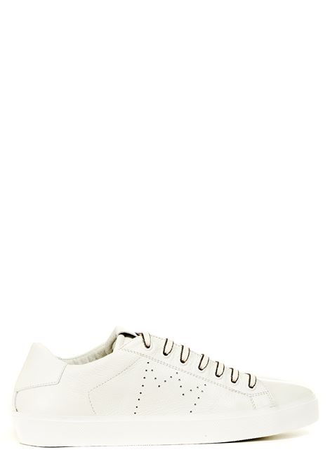 WHITE LEATHER SNEAKERS LEATHER CROWN | Sneakers | MLC13620114BIANCO