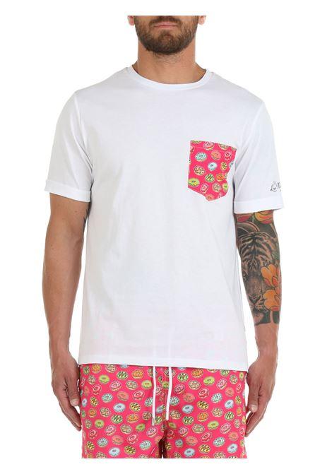 T-SHIRT BIANCA CON TASCHINO A CONTRASTO LORD PARTENOPEI | T-shirt | T-SHIRT08FUCSIABIANCO