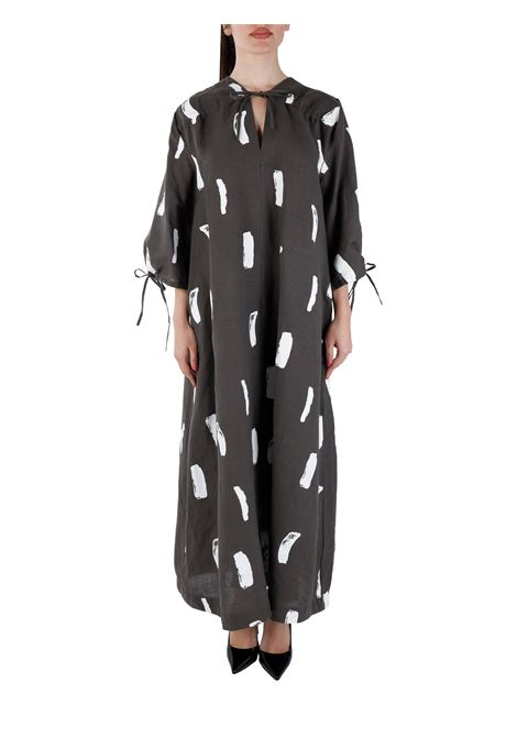 DRESS IN LINEN BLEND WITH PRINT LOVEBIRDS |  | PS2021-50CHOCOLAT
