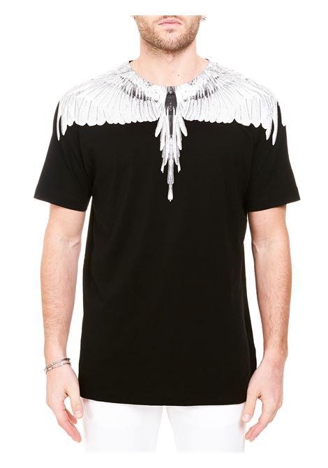 BLACK COTTON T-SHIRT WITH WINGS PRINT MARCELO BURLON | T-shirt | CMAA018R21JER0011001