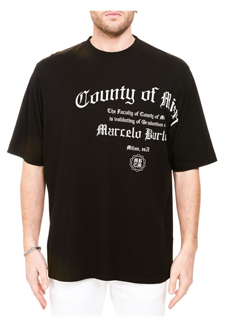 BLACK COTTON T-SHIRT WITH MBCM LOGO PRINT MARCELO BURLON | T-shirt | CMAA054R21JER0051001