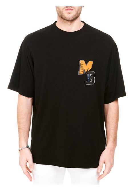 T-SHIRT NERA IN COTONE CON STAMPA LOGO FRONTALE MARCELO BURLON | T-shirt | CMAA054R21JER0071020