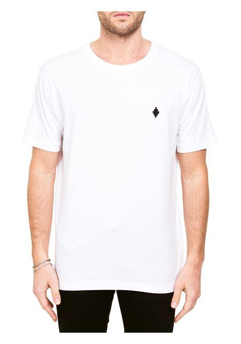 WHITE COTTON T-SHIRT WITH CROSS BASIC LOGO EMBROIDERY MARCELO BURLON | T-shirt | CMAA075R21JER0010110