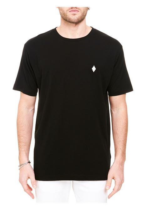 BLAKC COTTON T-SHIRT WITH CROSS BASIC LOGO EMBROIDERY MARCELO BURLON | T-shirt | CMAA075R21JER0011001