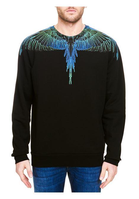 BLACK COTTON SWEATSHIRT WITH WINGS PRINT MARCELO BURLON | Sweatshirts | CMBA009R21FLE0011069
