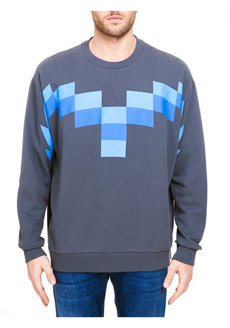 GRAY COTTON SWEATSHIRT WITH FRONT PRINT MARCELO BURLON | Sweatshirts | CMBA049R21FLE0014941