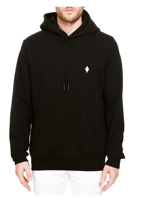BLACK COTTON SWEATSHIRT WITH LOGO EMBROIDERY MARCELO BURLON | Sweatshirts | CMBB007R21FLE0041001