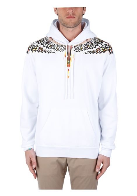 FELPA BIANCA IN COTONE STAMPA GRIZZLY WINGS MARCELO BURLON | Felpe | CMBB007S21FLE0020118