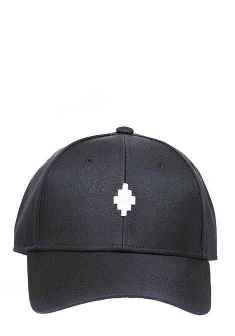 BLACK HAT WITH FRONT LOGO EMBROIDERY, CROSS BASEBALL MODEL MARCELO BURLON | Hats | CMLB008R21FAB0011001