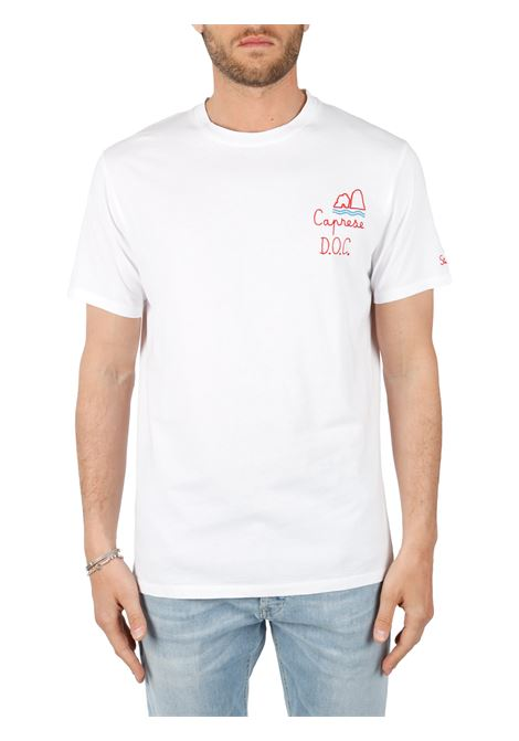 WHITE T-SHIRT WITH FRONT CAPRI EMBROIDERY MC2SAINTBARTH | T-shirt | PORTOFINOEMBCAPRESE01Nbianco