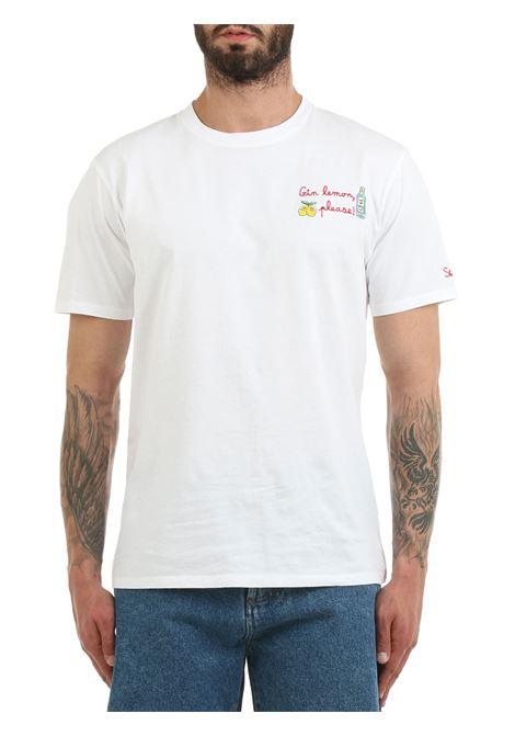 WHITE T-SHIRT WITH FRONT GIN LEMON EMBROIDERY MC2SAINTBARTH | T-shirt | PORTOFINOEMBGINPLEASE01Nbianco
