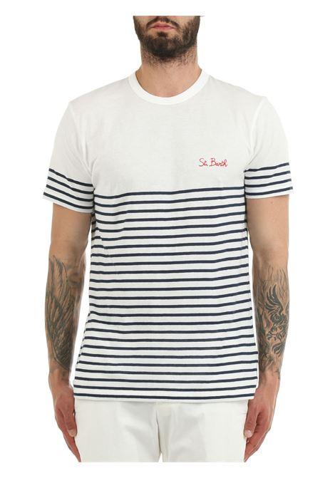 WHITE STRIPED T-SHIRT IN COTTON MC2SAINTBARTH | T-shirt | PORTOFINOS SBBLIN0161MULTICOLOR