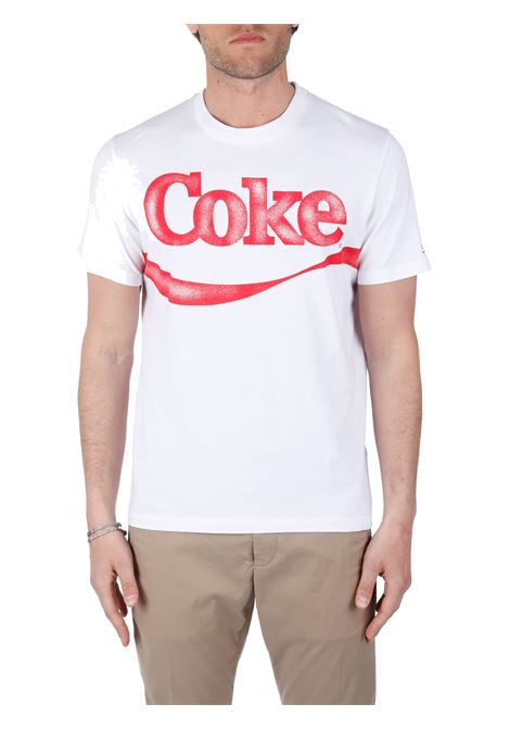 T-SHIRT BIANCA CON STAMPA COKE MC2SAINTBARTH | T-shirt | TSHIRTMANRIBBONCOKE01NBIANCO