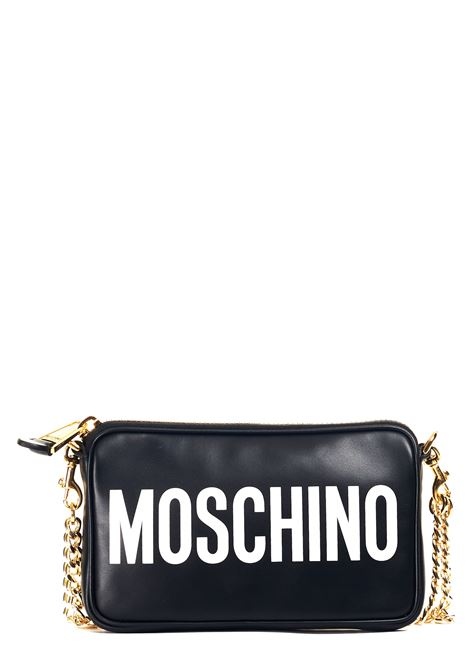 BLACK LEATHER SHOULDER BAG MOSCHINO | Bags | 742180011555