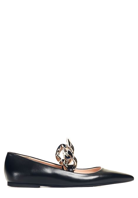 LEATHER BALLERINA WITH POINTED CHAIN N°21 | Ballerinas | 21ECPPNV11001X002