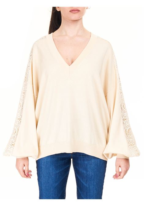 BEIGE SWEATER WITH COTTON NECK Nude |  | 110152366